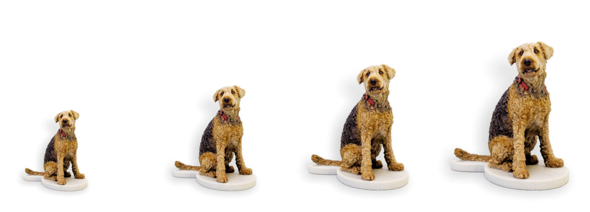 my3Dtwin, 3D Prionted Dog Figurine Sizes Basic Small Medium Large