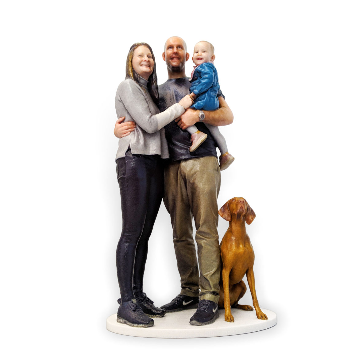 my3Dtwin, 3D Printed Figurine of family with kid and a dog