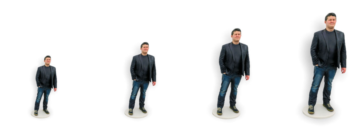my3Dtwin, 3D Printed Figurines Sizes Basic Small Medium Large