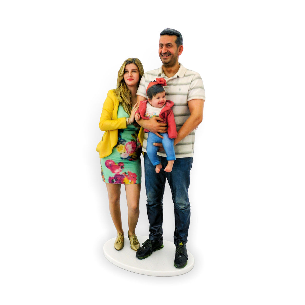my3Dtwin, 3D Printed Figurine of mum and dad holding young daughter in hands
