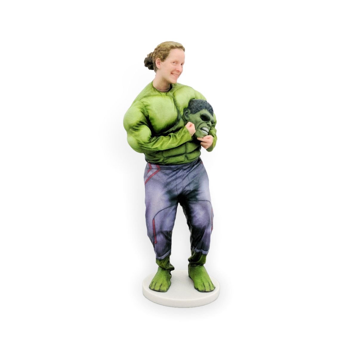 my3Dtwin, 3D Printed Custom Figurine of a women with hulk mask...