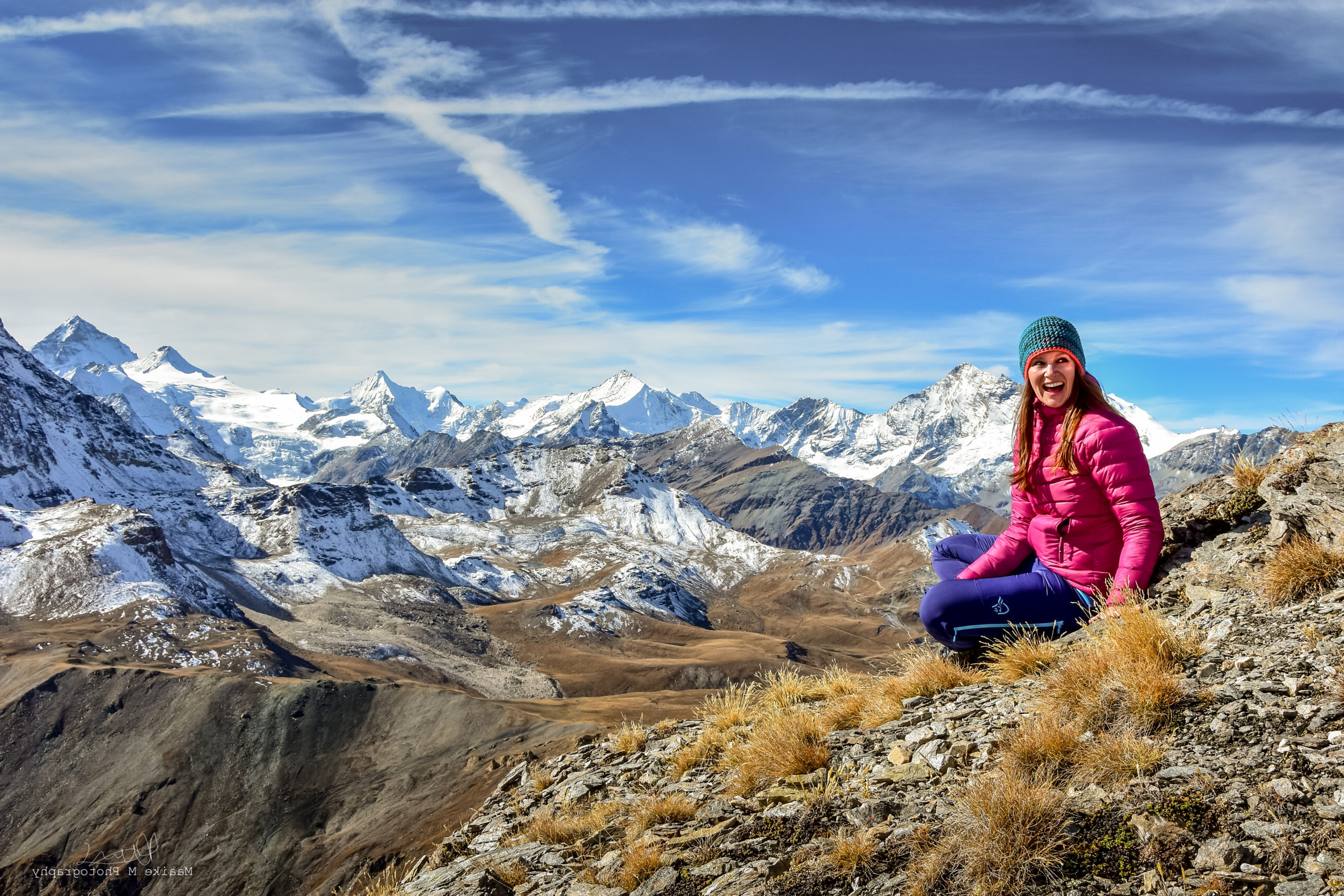 Maaike Mayor enjoying the view from a 3000m summit in the swiss alps