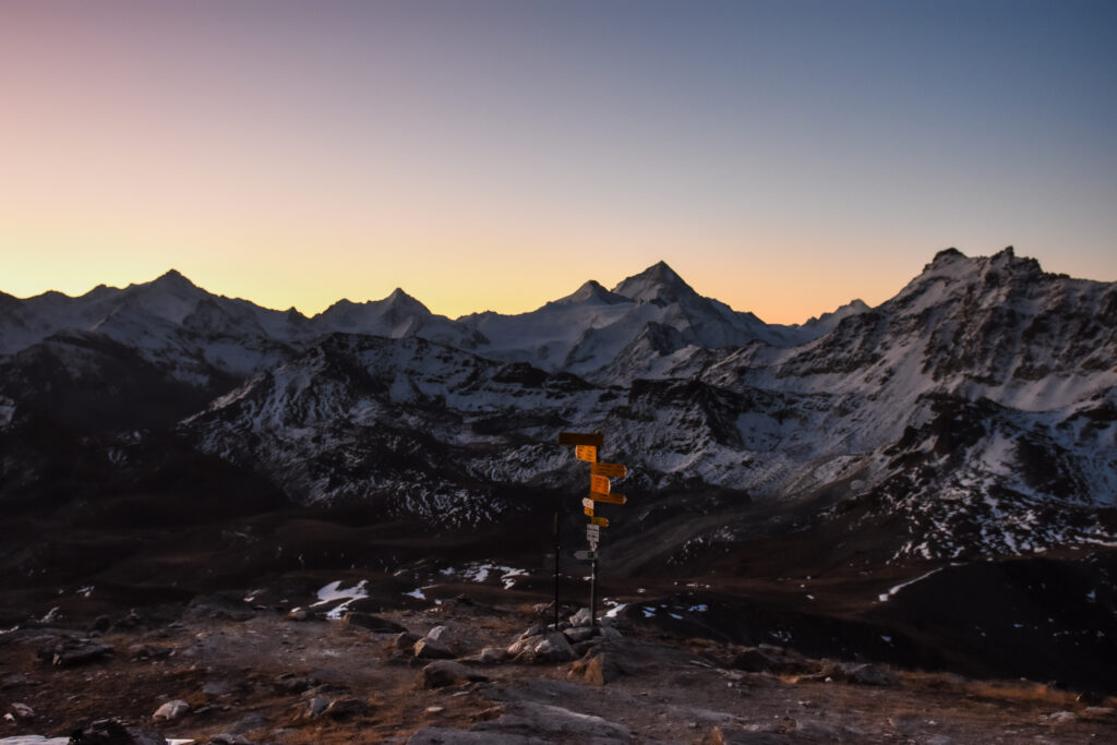 Pastel color sunrise in the swiss mountains