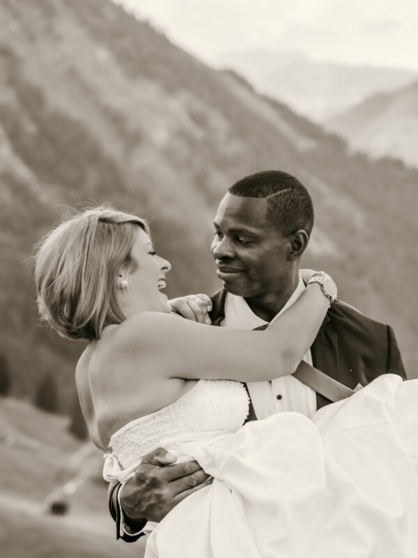 inter racial couple eloping in the swiss alps
