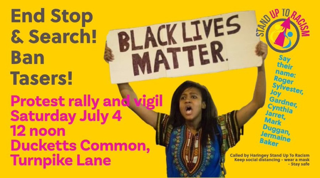 Ban Tasers – Scrap Section 60 stop and search law – protest Sat 4th July