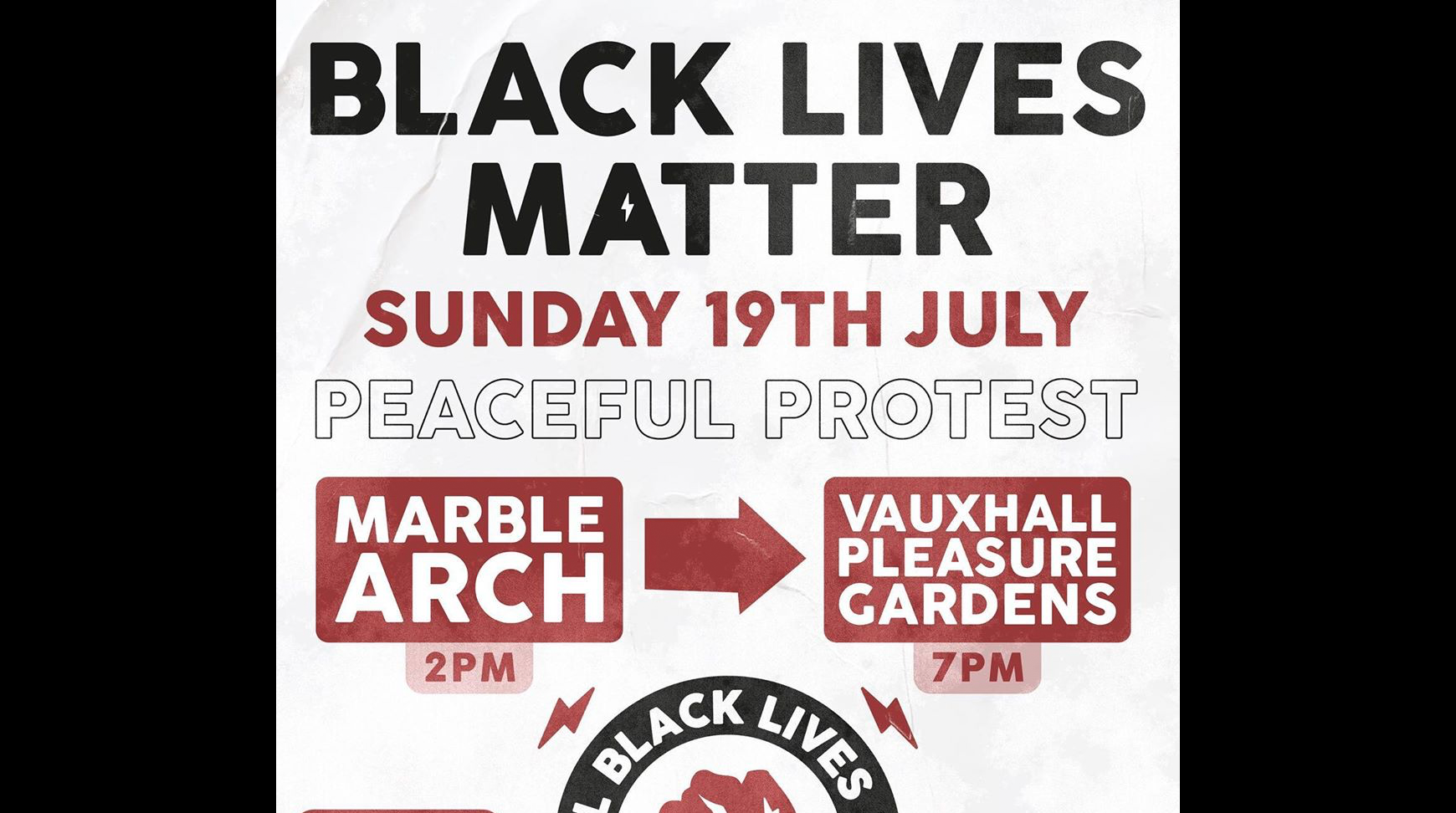 All Black Lives UK London BLM protest – Sunday 19 July 2pm Marble Arch