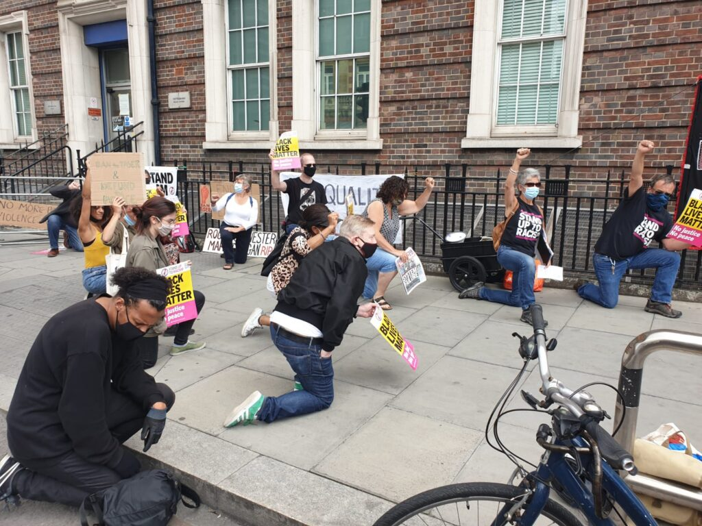BLM protest at Tottenham police station 11 July 2020 - called by Stand Up To Racism