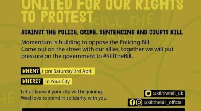 Kill the bill protests set for cities and towns across UK this Easter