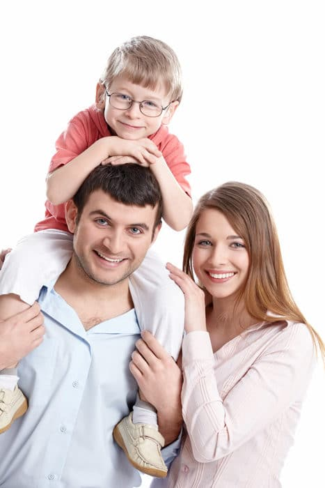 Image of two parents and a child happy with the services from CJS Legal Services Ltd in York