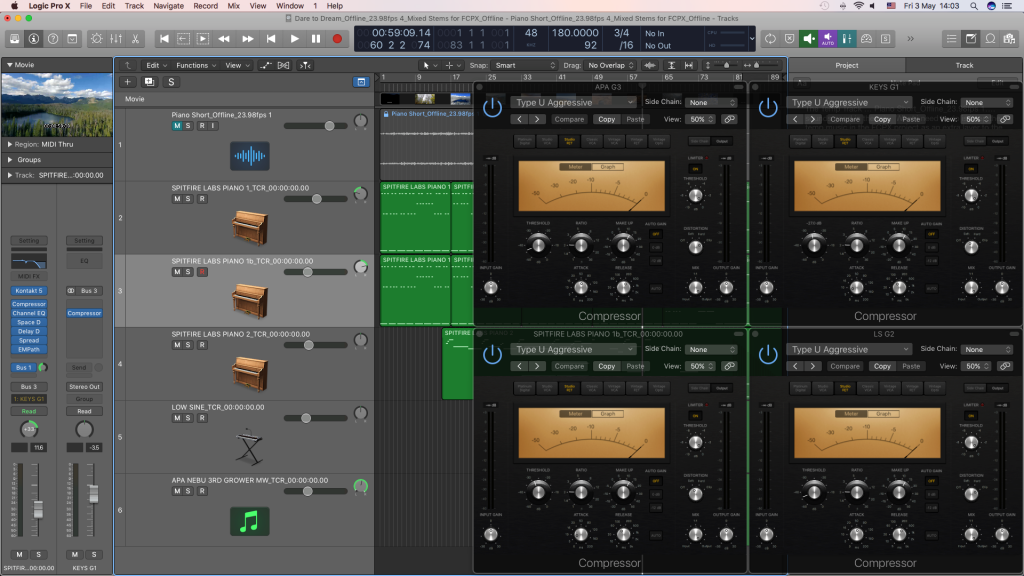 Checking pre Fader metering in Logic Pro X along with Parallel Compression.