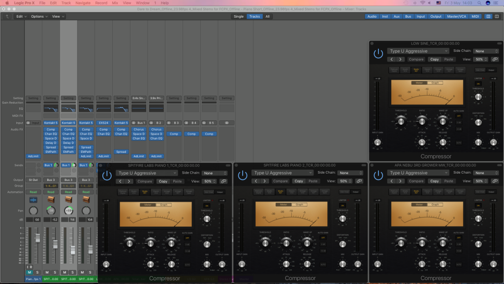 Checking pre Fader metering in Logic Pro X along with Parallel Compression 2.