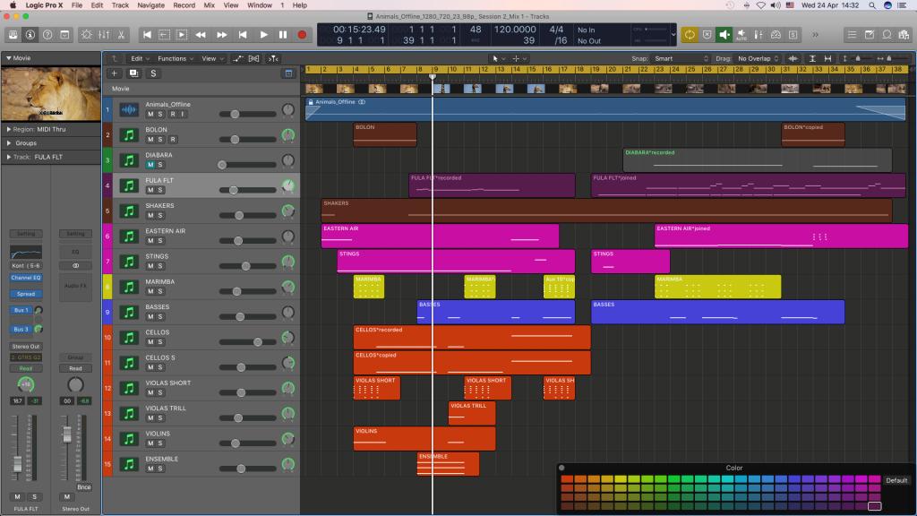 Mixing audio stems in Logic Pro X.