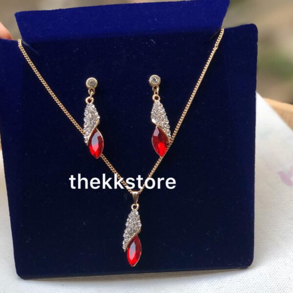 Red stone dainty necklace + earrings