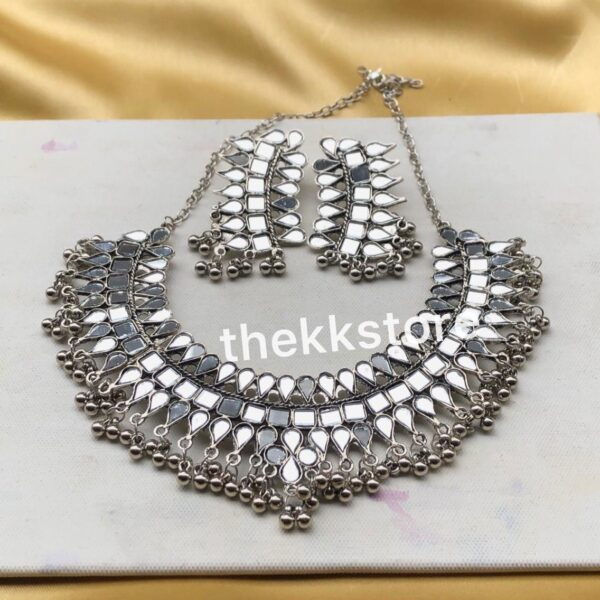 New mirror choker necklace with earrings