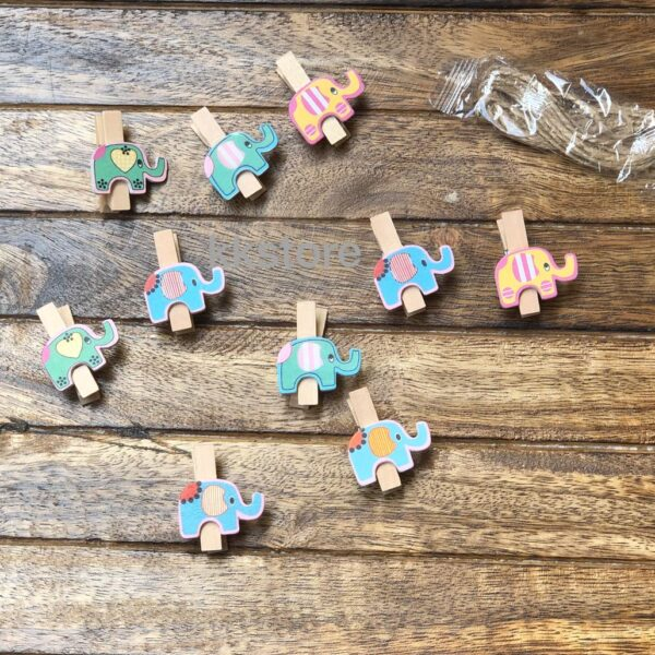 ELEPHANT WOODEN PAPER CLIPS – SET OF 10 WITH STRING
