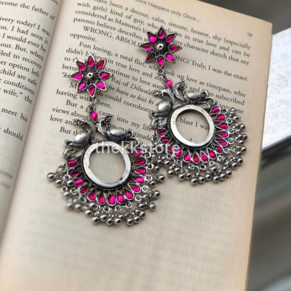 Silver 2 peacock pink tone earring