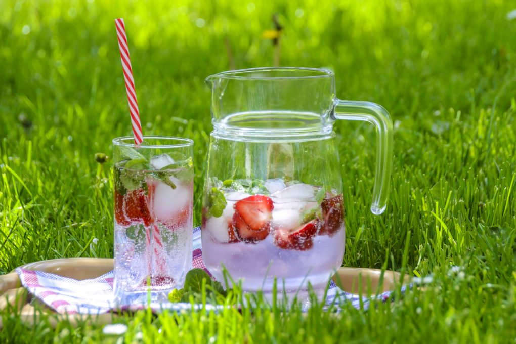 Strawberry drink in the park