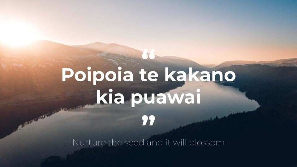 nurture the seed and it will blossom' - Maori proverb