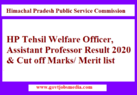 HP Tehsil Welfare Officer Result 2020