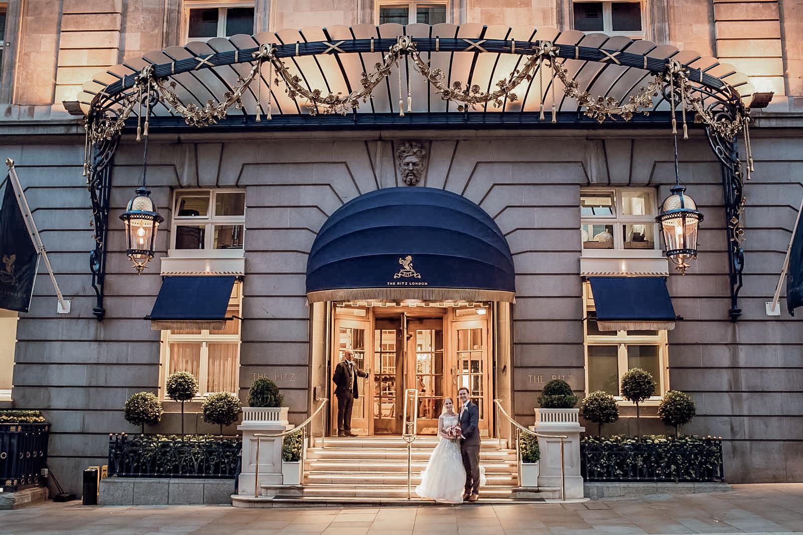 Wedding Couple outside The Ritz London entrance