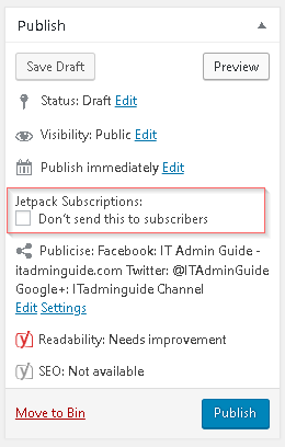 How to disable JetPack email notification of new posts to Subscribers?