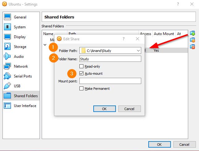 Ubuntu Shared Folders Mount