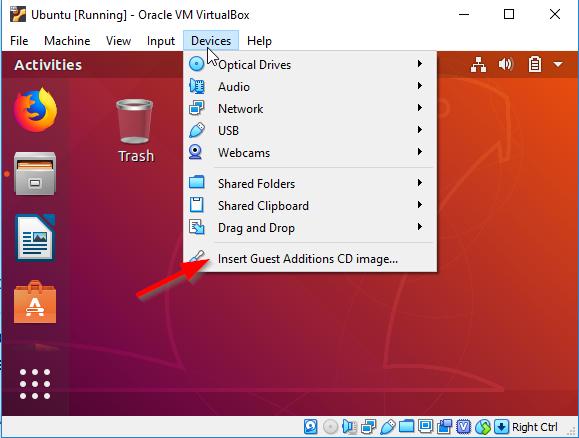Ubuntu_Insert Guest Additions CD image