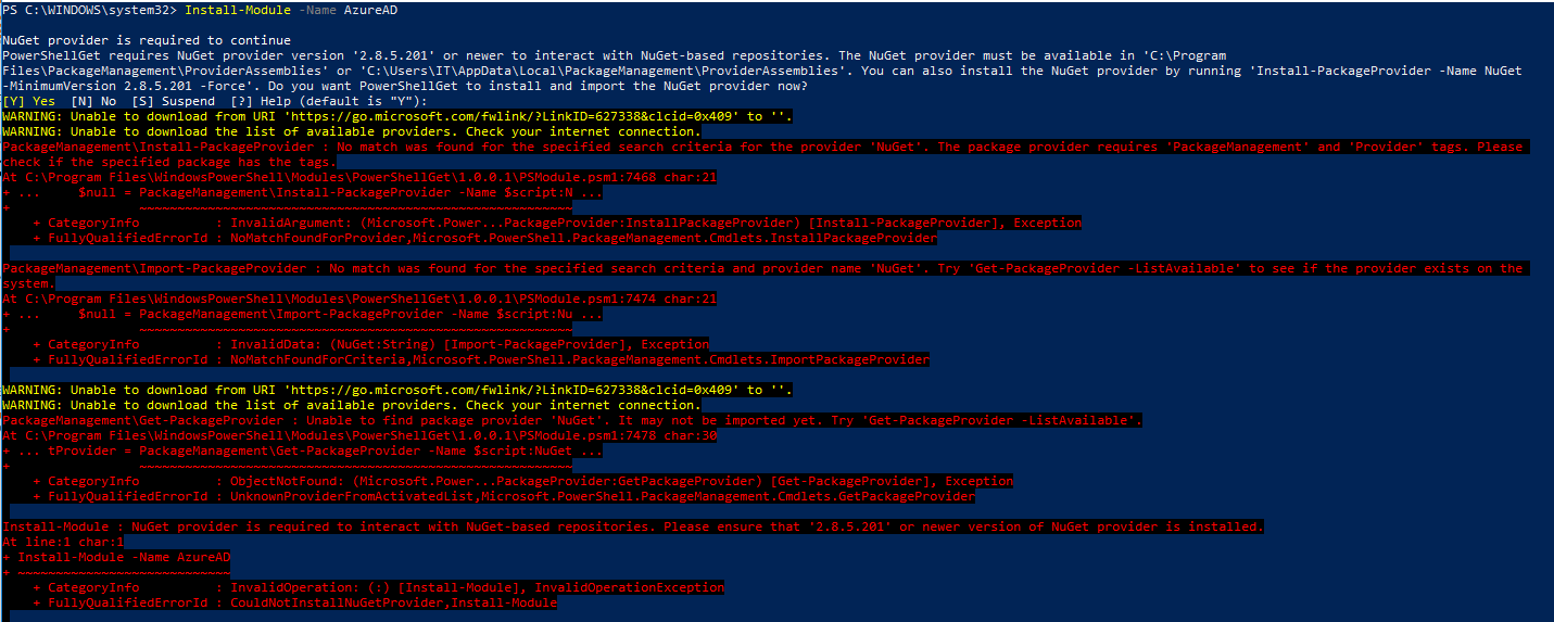PowerShell connect to Microsoft 365 AD
