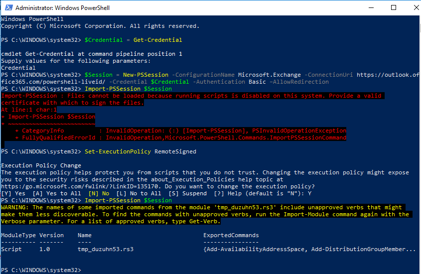 Error while importing PSSession on Microsoft365