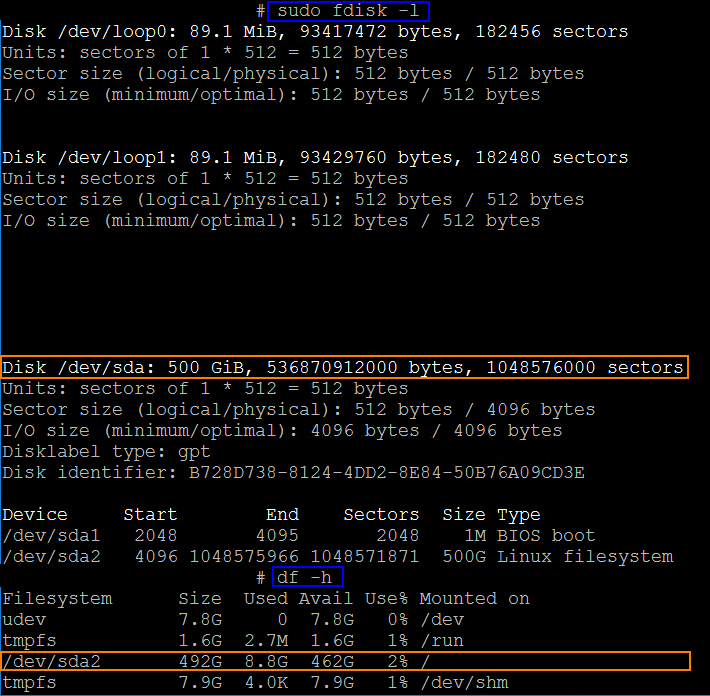 Ubuntu Disk Space fdisk and df