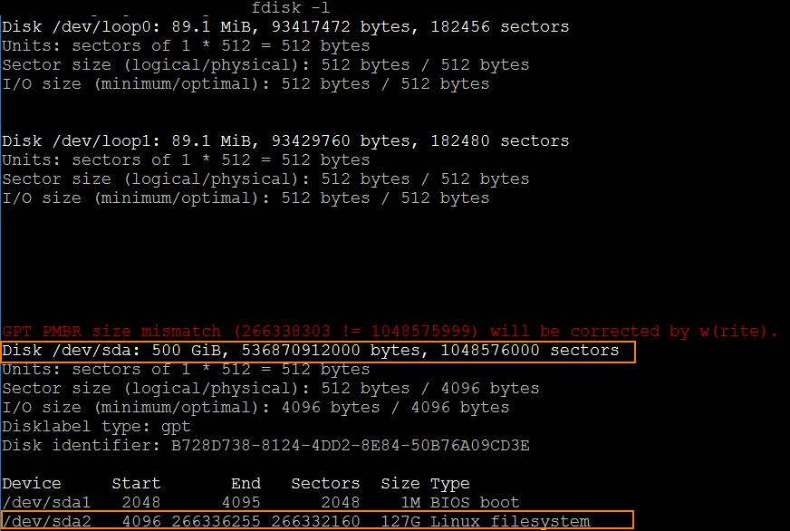Ubuntu Disk Space fdisk
