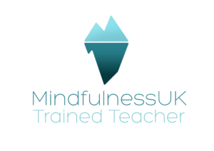 MindfulnessUK Trained Teacher Logo - Drawing of iceberg with majority below water line - Suggests hidden depths of the mind