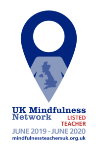 Logo of UK Mindfulness Network - Listed teacher. Indicates acceptance on the register
