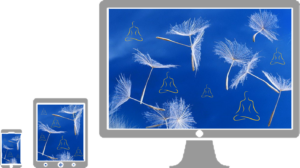 Illustration for text - Dandelion seeds and meditating figures on a blue sky background with different devices
