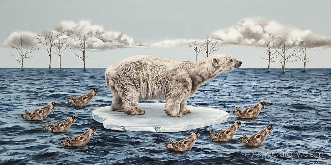 Surreal artwork by Amy Guidry showing effect of climate change on wildlife