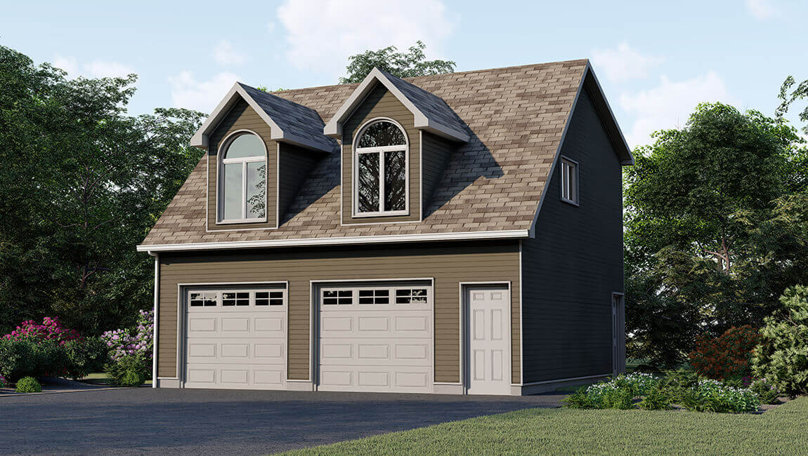 An olive coloured double garage with a loft.