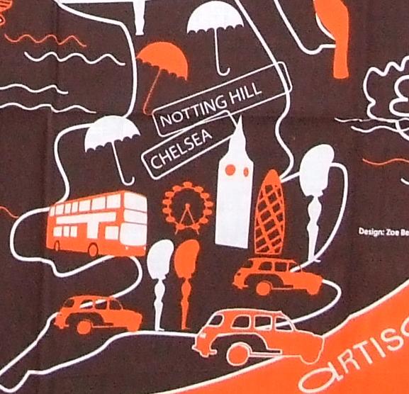 Detail of London icons  from Artisan du Chocolat furoshiki by Zoe Beck