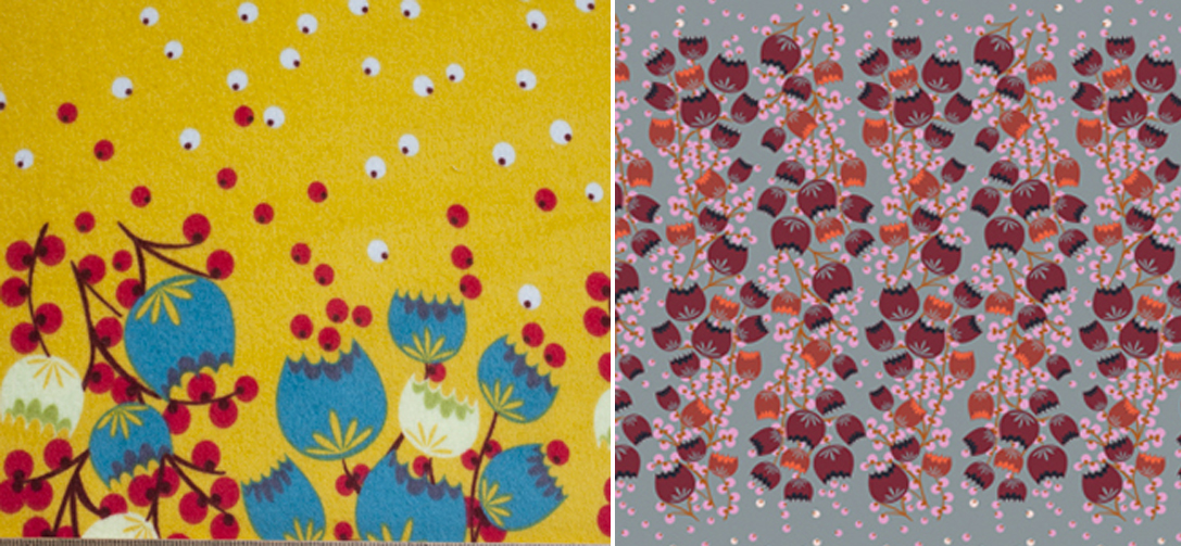 In the Clearing Autumn (left) and In the Clearing Winter (right) designed by for Loulou Flannels