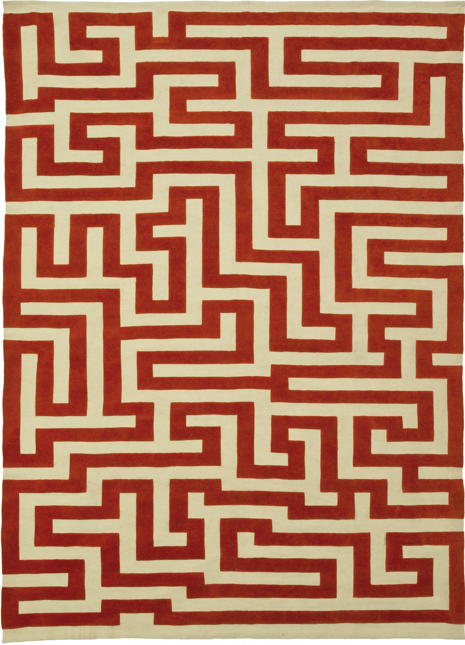 Christopher Farr Rugs, Red Meander by Anni Albers. Weave raised Aubusson, handspun wool.
