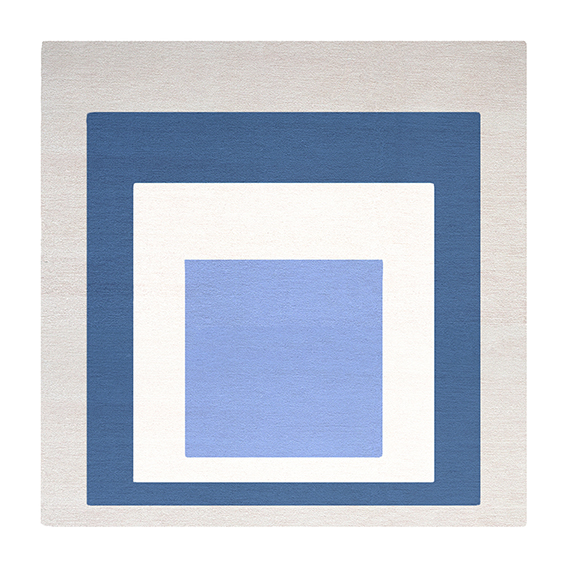 Josef Albers (1888-1976) Homage to the Square: Blue, White, Gray, 1951 Hand-tufted rug, wool 1.75 x 1.75 m Produced in association with the Josef and Anni Albers Foundation © 2013 The Josef and Anni Albers Foundation/ VG Bild-Kunst, Bonn and ARS, New York Edition of 150