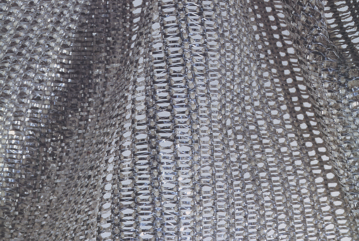 Jack Lenor Larsen Mercury textile, 1969, Verel, metallic gimp, rayon, cotton leno weave. Collection Cowan & Tout. Image from Jack Lenor Larsen Creator and Collector by McFadden, Friedman, Stack, Larsen, 2004