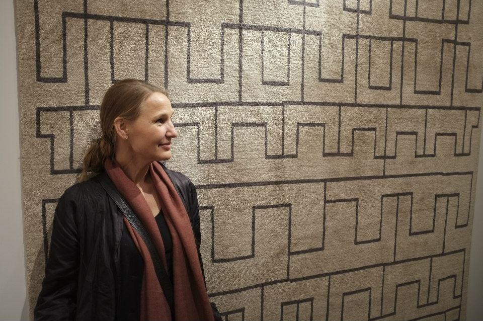 Kristiina Lassus and her rug Otane NL1