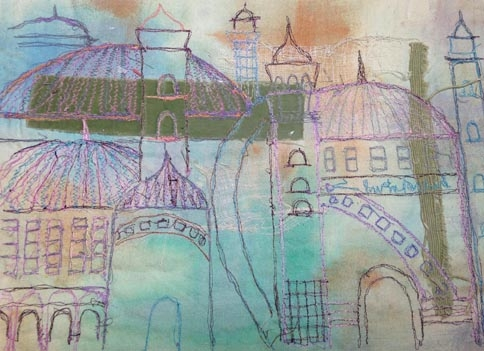 Saima Tahir,  London Metropolitan University Symbol of Love, fabric detail, Collection of fabrics and wallpapers