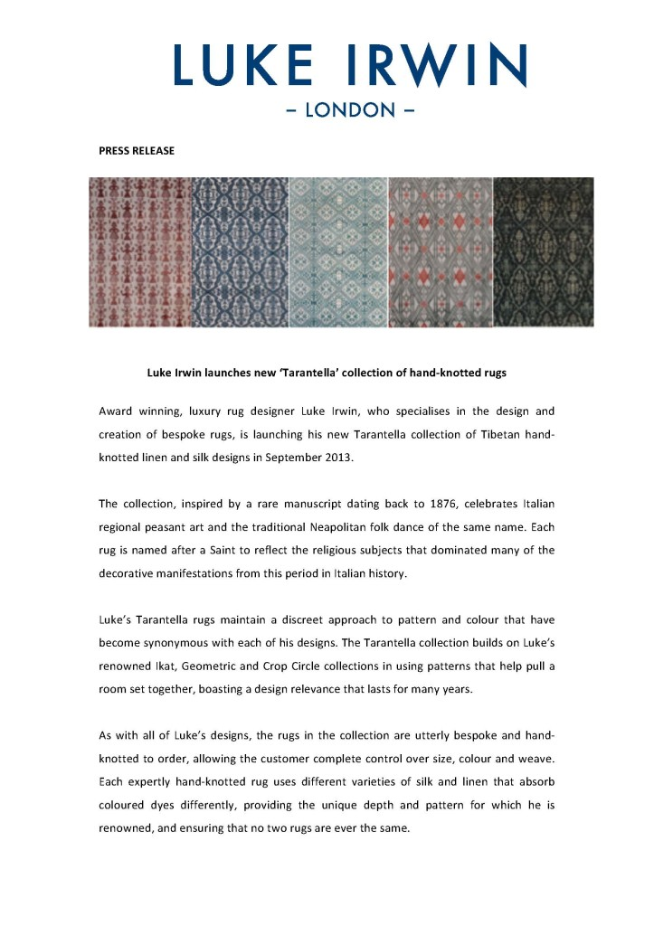 Luke Irwin launches new Tarantella collection of hand-knotted rugs - June 2013_Page_1