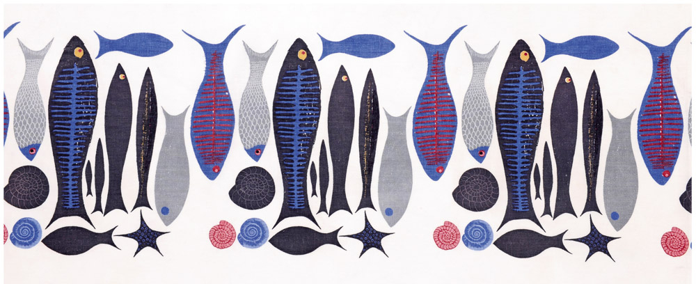'A Fish is a Fish is a Fish', designed by the painter and designer Ken Scott and illustrated in Interiors magazine, September 1951. Shown here is a border printed version for dresses and skirts. It was also printed as a furnishing textile by W.B. Quaintence of New York and was marketed in the United Kingdom through Sanderson & Son Ltd.