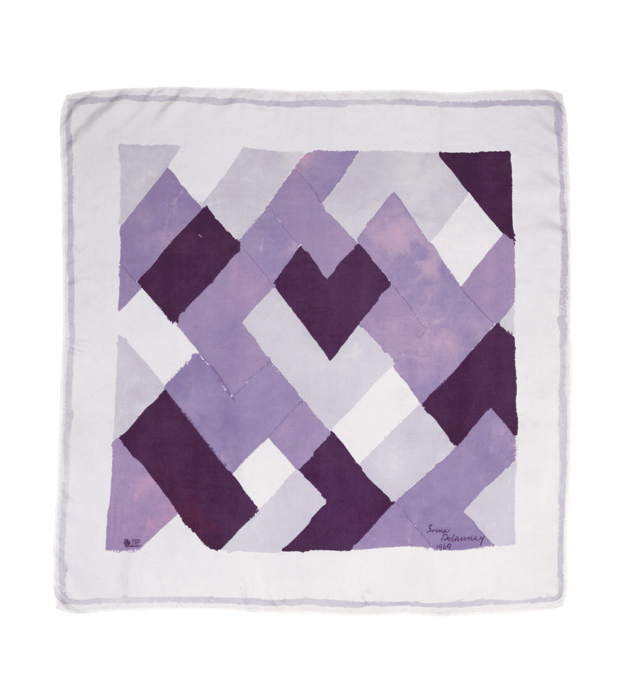 Artist Textiles A silk square, designed by Sonia Delaunay, and produced in a limited edition by Liberty of London, 1969.