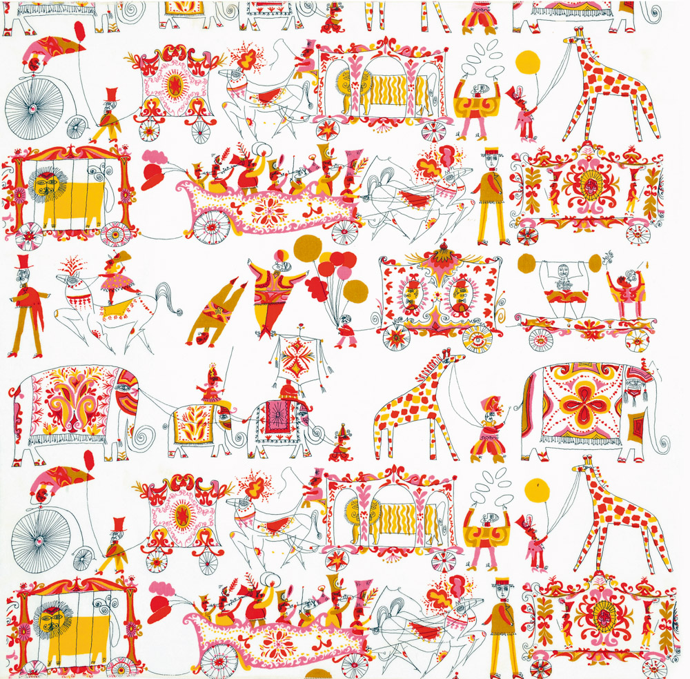 'Parade', by Rombola for Patterson Fabrics, 1957, was also printed as a wallpaper by Piazza Prints.