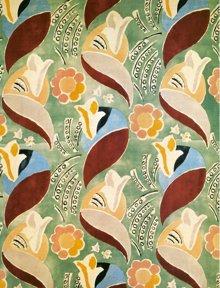 Artist Textiles Screen-printed velvet furnishing textile, designed by Duncan Grant and intended for use on the P & O liner 'Queen Mary', produced by Allan Walton 1936.