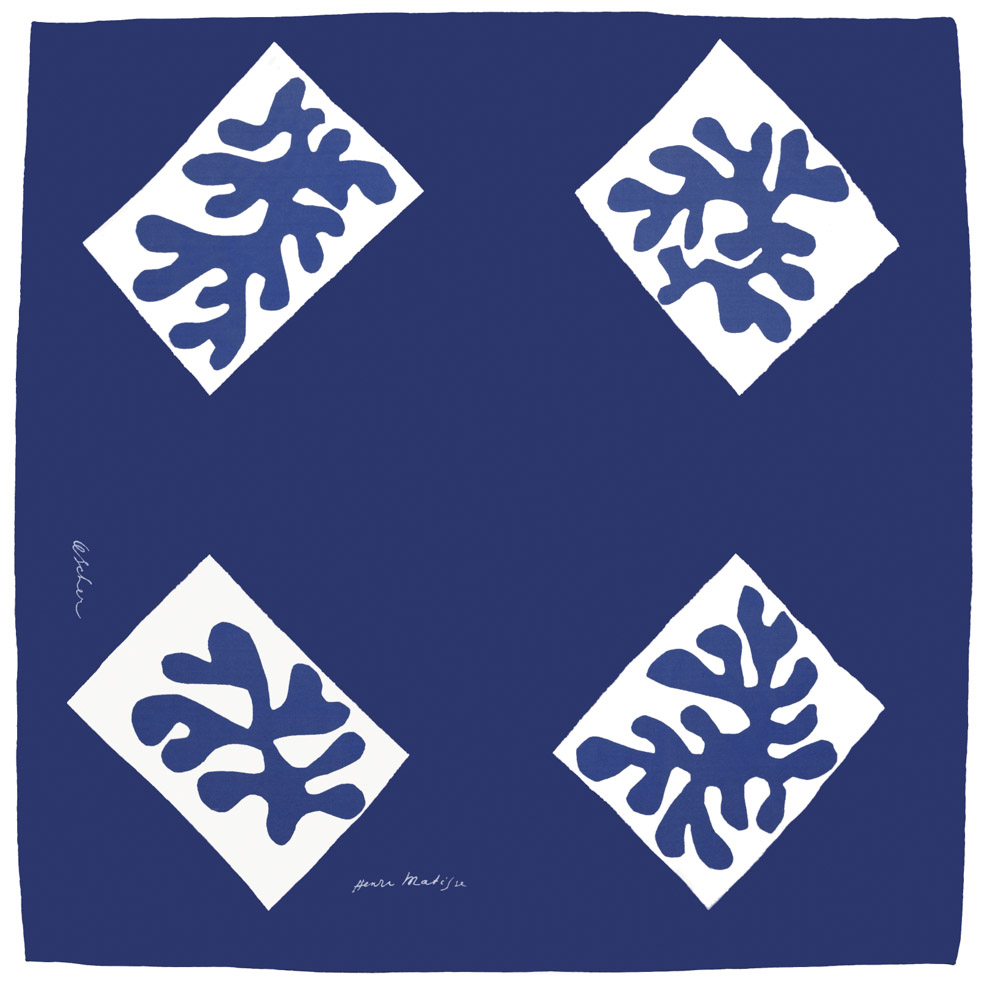 Artist Textiles Henri Matisse's first design for Ascher, 'Echarpe No. 1', was exhibited at the Lefevre Gallery, 1947. One of the two coral-based designs, it was intended to be produced in a limited edition of 275.