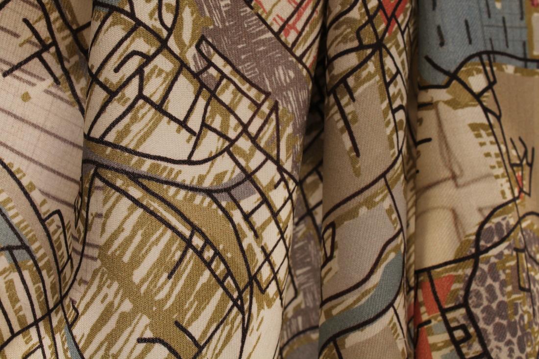 Chloe Hughes'Glasgow Map Collage' digitally printed on Wool Twill (Close up)